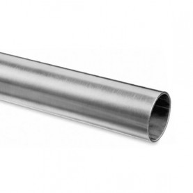 Corrimano diritto in acciaio inox con estremità aperte Ø 43 mm.