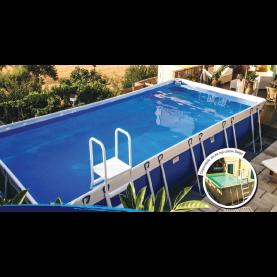 Piscina MARETTO Luxury Large h 140 - 3x8m - Colore Azzurro + KIT Piscina.